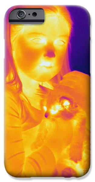 Electromagnetic Spectrum iPhone Cases - Thermogram Of A Girl And Cat iPhone Case by Ted Kinsman