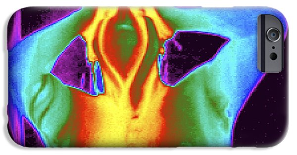 Shower Head iPhone Cases - Thermogram Of A Man Taking A Shower iPhone Case by Dr. Arthur Tucker