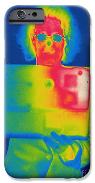 Electromagnetic Spectrum iPhone Cases - Thermogram Of A Woman With A Laptop iPhone Case by Ted Kinsman