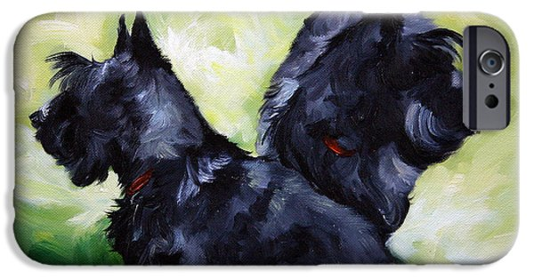 Scottish Terrier Art iPhone Cases - This Way or That  iPhone Case by Mary Sparrow