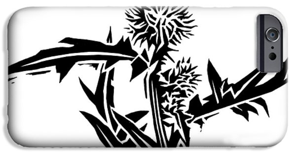 Linocut iPhone Cases - Thistle, Lino Print iPhone Case by Gary Hincks