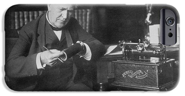 Thomas Alva Edison iPhone Cases - Thomas Edison, American Inventor iPhone Case by Omikron