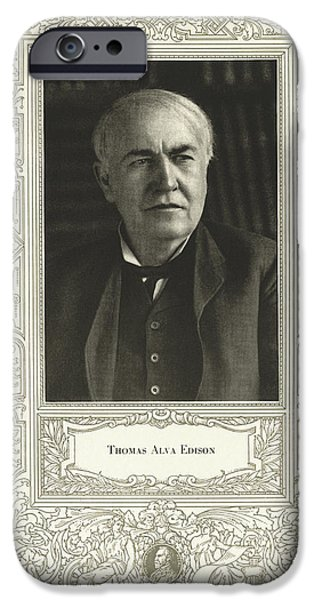 Electrical iPhone Cases - Thomas Edison, American Inventor iPhone Case by Science, Industry & Business Librarynew York Public Library