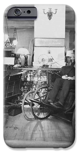 Thomas Edison In Quadricycle iPhone Case by Photo Researchers