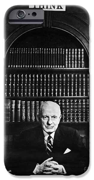 Bookcase iPhone Cases - Thomas J. Watson (1874-1956) iPhone Case by Granger