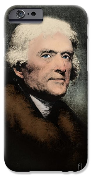 American Revolution iPhone Cases - Thomas Jefferson, 3rd American President iPhone Case by Omikron