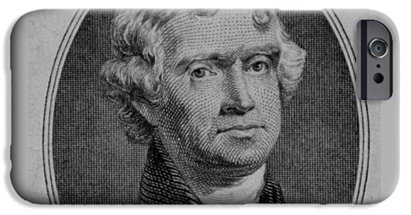 4th July Digital iPhone Cases - THOMAS JEFFERSON in BLACK AND WHITE iPhone Case by Rob Hans