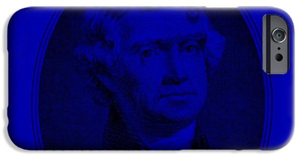 Patriots iPhone Cases - THOMAS JEFFERSON in BLUE iPhone Case by Rob Hans