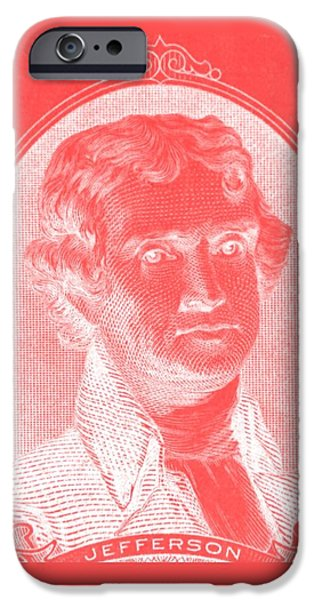 THOMAS JEFFERSON in NEGATIVE RED iPhone Case by ROB HANS