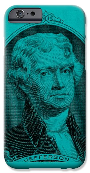 THOMAS JEFFERSON in TURQUOIS iPhone Case by ROB HANS
