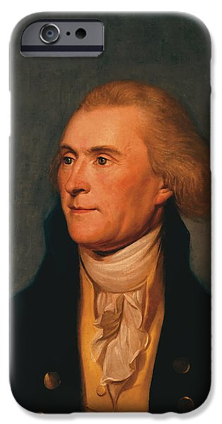 4th July Paintings iPhone Cases - Thomas Jefferson iPhone Case by War Is Hell Store