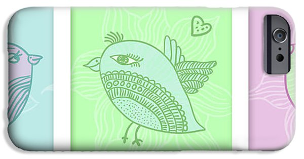 Baby Bird iPhone Cases - Three birds iPhone Case by Nomi Elboim