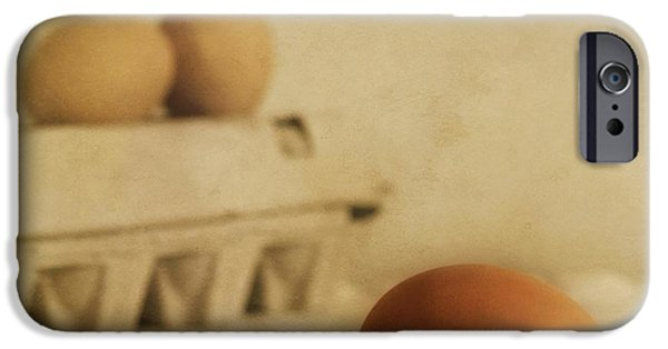 Table Top iPhone Cases - Three Eggs And A Egg Box iPhone Case by Priska Wettstein