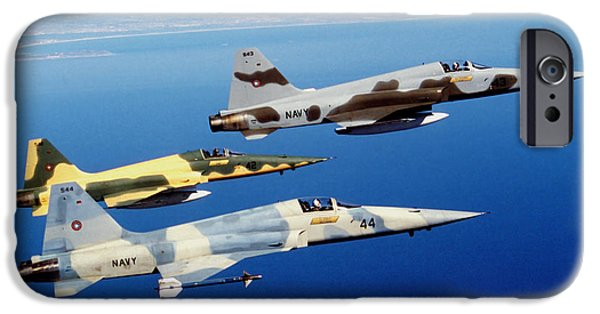 The Tiger iPhone Cases - Three F-5e Tiger Ii Fighter Aircraft iPhone Case by Dave Baranek