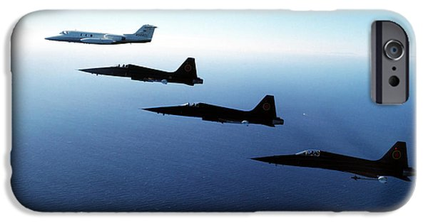 The Tiger iPhone Cases - Three F-5e Tiger Iis Fly In Formation iPhone Case by Dave Baranek