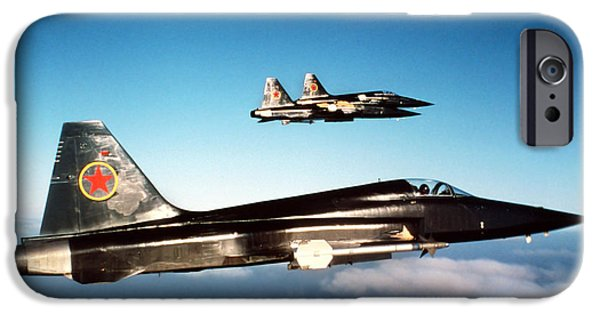 The Tiger iPhone Cases - Three F-5e Tiger Iis In Flight iPhone Case by Dave Baranek