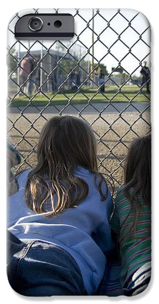 Three girls watching ball game behind home plate iPhone Case by Christopher Purcell