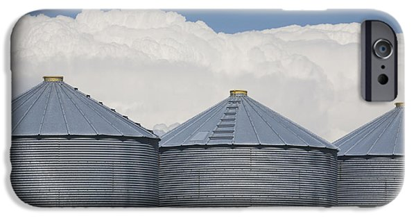 Three Sizes iPhone Cases - Three Grain Bins With Dramatic Thunder iPhone Case by Michael Interisano