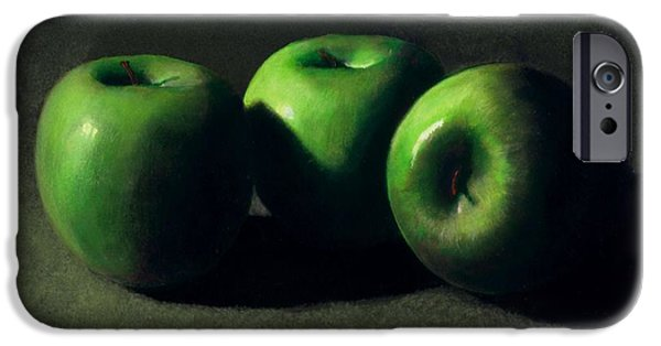 Food iPhone Cases - Three Green Apples iPhone Case by Frank Wilson