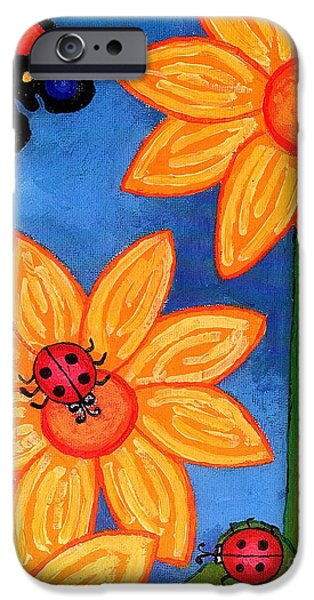 Genevieve Esson iPhone Cases - Three Ladybugs and Butterfly iPhone Case by Genevieve Esson