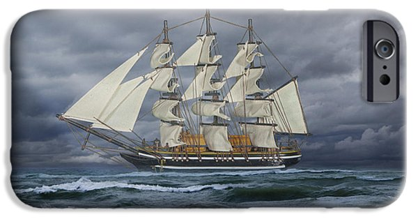 Windjammer iPhone Cases - Three Masted Ship iPhone Case by Randall Nyhof