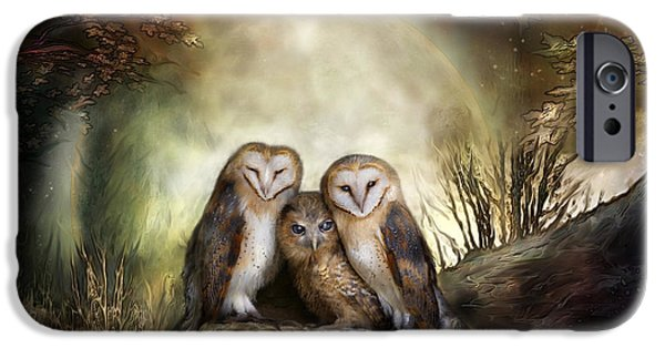 Animal Cards iPhone Cases - Three Owl Moon iPhone Case by Carol Cavalaris