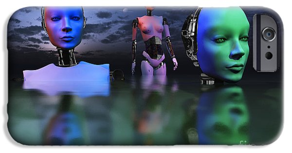 Cyberspace Digital Art iPhone Cases - Three Robots Link To Form One Super iPhone Case by Mark Stevenson