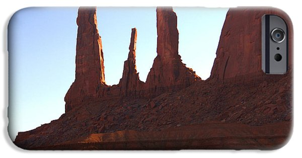 Red Rock iPhone Cases - Three Sisters - Monument Valley iPhone Case by Mike McGlothlen