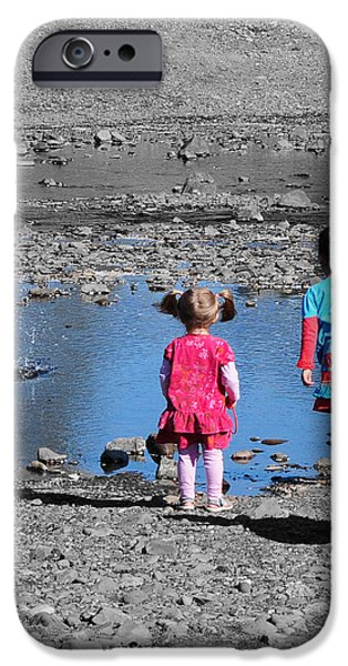 Little Girl iPhone Cases - Throwing Stones iPhone Case by Paul Ward