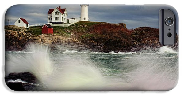 Cape Neddick Lighthouse Photographs iPhone Cases - Thundering Tide iPhone Case by Rick Berk