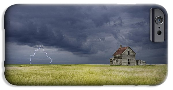 Electrical iPhone Cases - Thunderstorm on the Prairie iPhone Case by Randall Nyhof