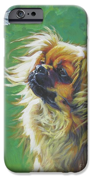 Puppies iPhone Cases - Tibetan Spaniel and cabbage white butterfly iPhone Case by Lee Ann Shepard