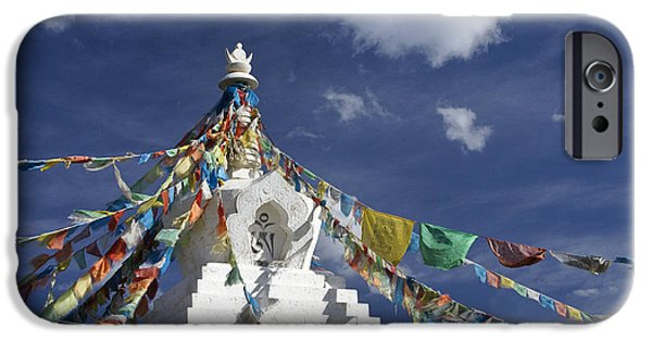 Tibetan Buddhism iPhone Cases - Tibetan Stupa with Prayer Flags iPhone Case by Michele Burgess