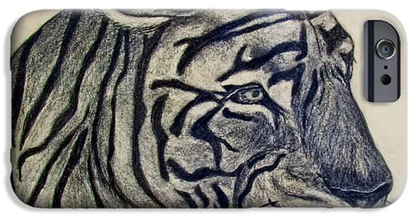 Photomanipulation Drawings iPhone Cases - Tiger I iPhone Case by Debbie Portwood