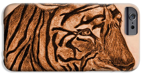 Photomanipulation Drawings iPhone Cases - Tiger III iPhone Case by Debbie Portwood
