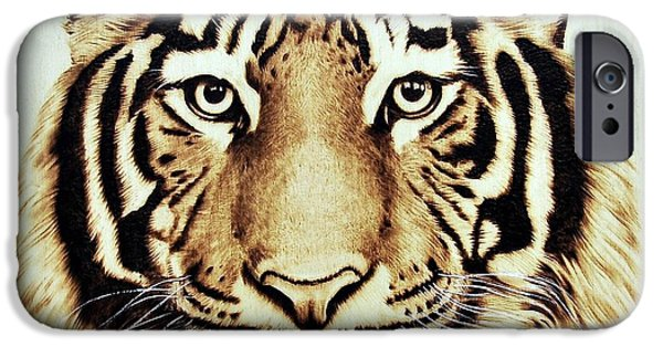 Wild Animals Pyrography iPhone Cases - Tiger iPhone Case by Ilaria Andreucci
