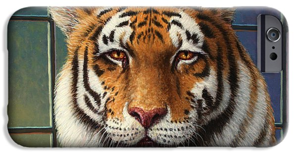 Stripes iPhone Cases - Tiger in Trouble iPhone Case by James W Johnson