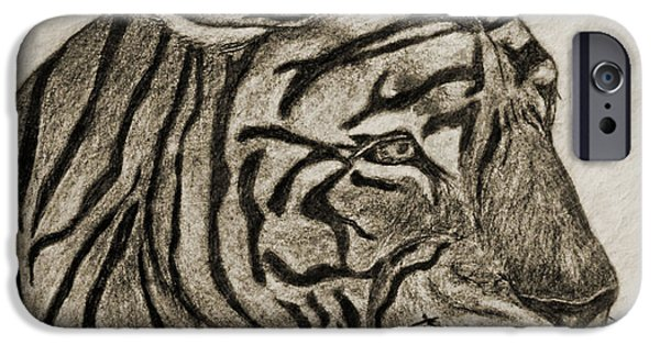 Photomanipulation Drawings iPhone Cases - Tiger IV iPhone Case by Debbie Portwood