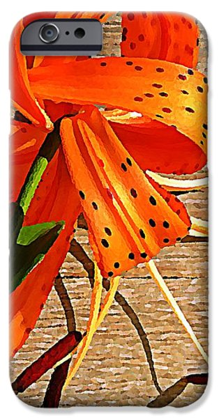 Tiger Lily with Watercolor  iPhone Case by Chris Berry