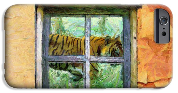 Cabin Window iPhone Cases - Tiger Outside My Window iPhone Case by Anthony Caruso