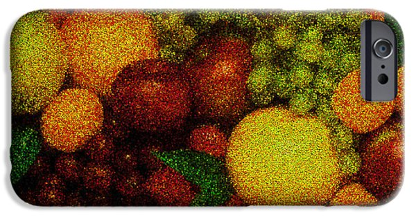 Recently Sold -  - Abstract Digital Pyrography iPhone Cases - Tiled Fruit  iPhone Case by Mauro Celotti