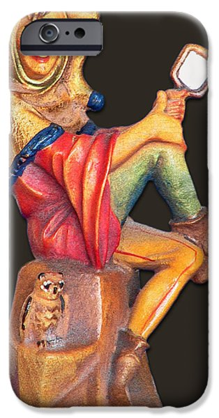 Wood Carving iPhone Cases - Till Eulenspiegel - The Merry Prankster iPhone Case by Christine Till