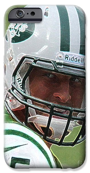 Tim Tebow Art Deco III - New York Jets -  iPhone Case by Lee Dos Santos