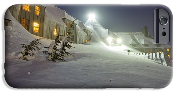 Snowy Night Photographs iPhone Cases - Timberline Lodge Mt Hood Snow Drifts at night iPhone Case by Dustin K Ryan