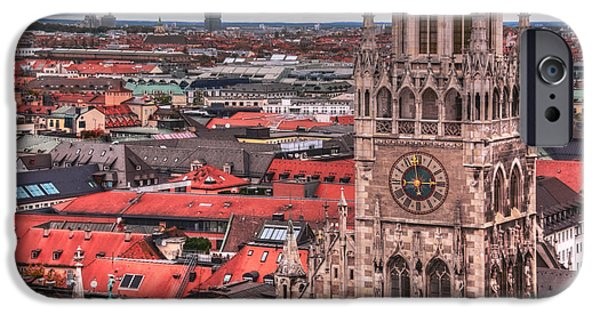 Marienplatz iPhone Cases - Time for Munich iPhone Case by Anthony Citro