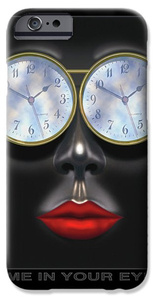 Lips Digital Art iPhone Cases - Time In Your Eyes iPhone Case by Mike McGlothlen