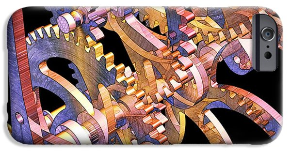 Relief Print iPhone Cases - Time Mechanics V1 iPhone Case by Michael C Geraghty