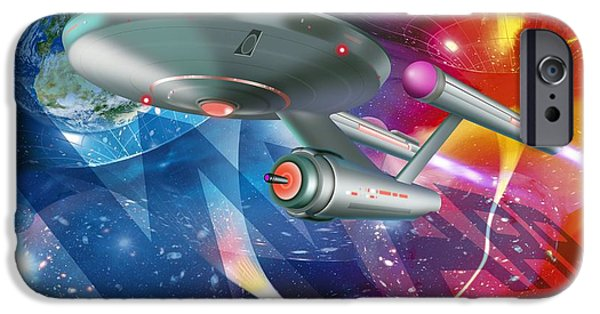 Space-craft iPhone Cases - Time Travelling Spacecraft, Artwork iPhone Case by Detlev Van Ravenswaay