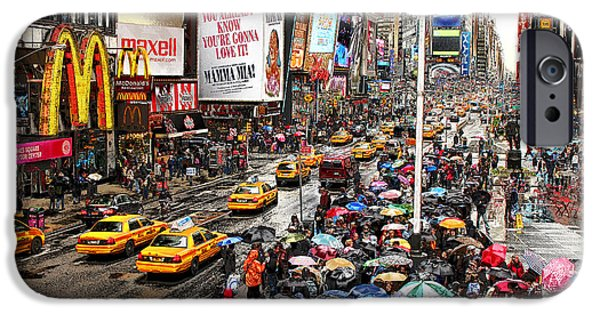 Nyc Rain iPhone Cases - Times Square 1 iPhone Case by Andrew Fare