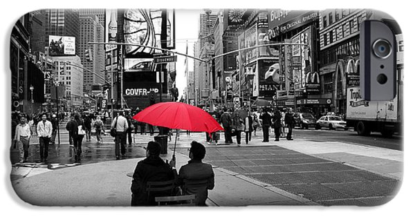 Red Umbrella iPhone Cases - Times Square 5 iPhone Case by Andrew Fare